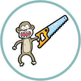 monkey with hacksaw